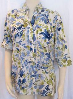 NEW Womens Ladies KAREN SCOTT Blue & Green Floral Tailored Shirt Blouse Top M #KarenScott #ButtonFrontBlouse #VERSATILE
