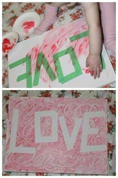Fun for a #MothersDay gift. Use painter tape to spell out a word, then let kids decorate with #fingerpaint! #RoseArt