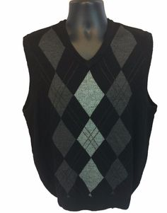 GEOFFREY BEENE Men's V-Neck Argyle Sweater Vest Size Large Black Acrylic