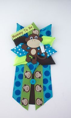 Monkey Baby Shower Corsage Baby Boy Ready to by CrazyCraftFrog -- but with a moose