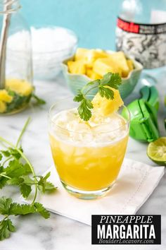This fresh-style margarita is bursting with pineapple and cilantro flavors. An unexpected combination that is thirst quenching and light. Fun Cocktails, Cocktail Recipes, Party Drinks, Drink Recipes, Yummy Drinks, Healthy Drinks, Basil Tea, Pitcher Drinks, Healthy Recipes