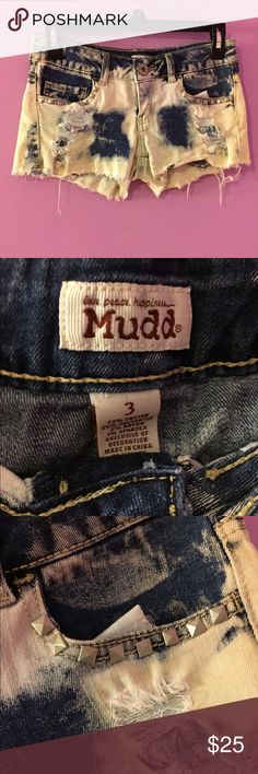 """Mudd """"bleached"""" cut off shorts Mudd cut off shorts, designed this way, with slight green and purple tints. Studded around the pockets and has distressed holes. Mudd Shorts Jean Shorts"""