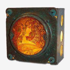 Art Nouveau Night Light Alphonse Mucha Laurel  by RomanyCaravan