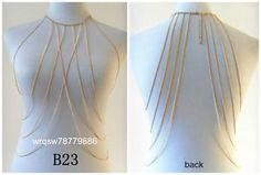 B23 Style Women Fashion Body Chains Jewelry Long Gold Silver Necklace