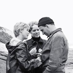 Bibi Andersson, Liv Ullmann, and Ingmar Bergman on the set of PERSONA (Ingmar Bergman, Sweden, 1966)