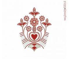Výšivka Liptov 17x22 cm Hungarian Embroidery, Flower Designs, Machine Embroidery, Ornaments, Tattoos, Store, Drawings, Flowers, Artwork