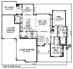Craftsman Style House Plan - 2 Beds 2.5 Baths 2107 Sq/Ft Plan #70-918 Floor Plan - Main Floor Plan - Houseplans.com