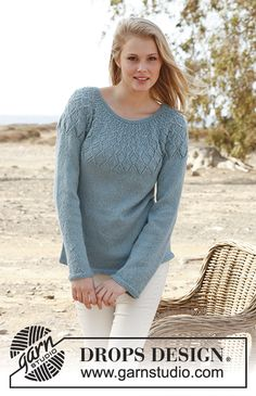 "Knitted DROPS jumper with lace pattern and round yoke in ""BabyAlpaca Silk"". Size: S - XXXL. Free pattern by DROPS Design."