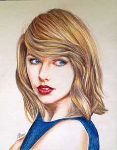 Taylor Swift coloured pencil drawing