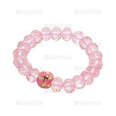 pulsera de cristal rosado con perla corazon moda en acero inoxidable -SSBTG504351