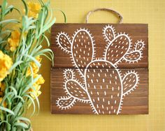 Cactus Illustration on Wood | Cactus Painting Wall Hanging on Wood | Cactus Art