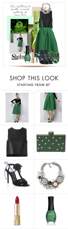 """SheIn Green Plaid Skirt"" by sherrie-mock ❤ liked on Polyvore featuring Fendi, Charlotte Olympia, Oscar de la Renta, Dolce&Gabbana, ORLY and St. John"