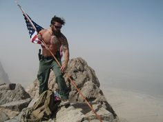 US Army Ranger with an American Flag in Afghanistan, 2011