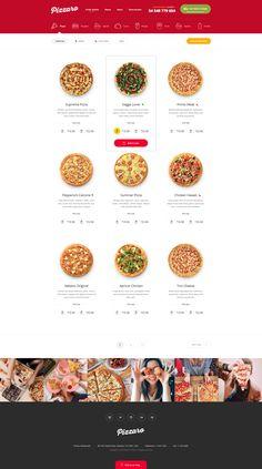 Pizzaro - Food Online Ordering eCommerce PSD by bcube Best Restaurant Websites, Restaurant Website Design, Restaurant Website Templates, Website Design Company, Fast Food Restaurant, Restaurant Recipes, Pizza Restaurant, Cookies Website, Bagel Cafe