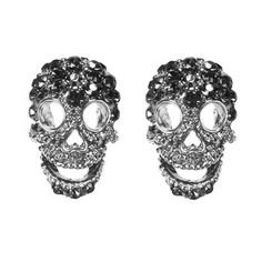 black crystal skull earrings