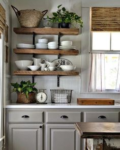 35 Rustic Farmhouse Kitchen Design Ideas December Leave a Comment There's just something so inviting about the soul-calming appeal of a farmhouse style kitchen! Farmhouse kitchen design tugs at the heart as it lures the senses with e Rustic Kitchen Cabinets, Shabby Chic Kitchen, Kitchen Cabinet Design, Farmhouse Kitchen Decor, Country Kitchen, New Kitchen, Kitchen Ideas, Rustic Farmhouse, Farmhouse Style