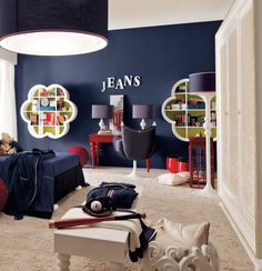 Fall In Love With These Blue Boys Bedroom Ideas : Jonny Blue Painting Wall Boys Bedroom with Cool Beige Carpet and Blue Lampshade Stand Lamp...