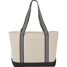 The Stripe Handle 20oz Cotton Canvas Zippered Boat Tote is made from durable material and features a zippered main compartment and an open front pocket. Add your logo to the front pocket today at NYFifth.com #promotionalproducts #boattote #logoembroidery Custom Tote Bags, Sports Shirts, Leeds, Cotton Canvas, Screen Printing, Gym Bag, Black And Grey, Stripes, Boat