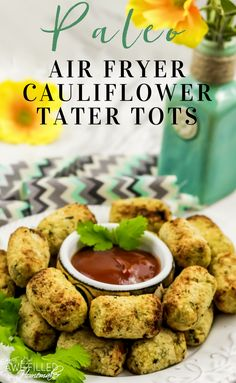 """Need fresh snack ideas for a low carb or paleo diet? These air fryer Cauliflower… Need fresh snack ideas for a low carb or paleo diet? These air fryer Cauliflower """"tater"""" tots are SO easy and delicious! Cheesy Cauliflower Tots, Cauliflower Fritters, Paleo Recipes, Cooking Recipes, Cooking Tips, Ninja Recipes, Free Recipes, Air Fryer Oven Recipes, Paleo Diet"""