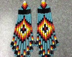 long Silver plated earwires with rubber backs Made from glass seed beads shipping will include tracking # Beaded Earrings Native, Native Beadwork, Native American Beadwork, Aztec Earrings, Bead Earrings, Native Beading Patterns, Seed Bead Patterns, Beaded Jewelry Patterns, Pony Bead Projects