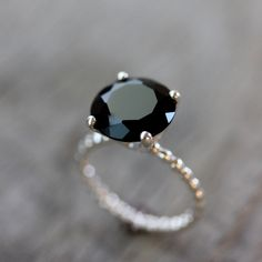 Black Spinel and Sterling Silver Solitaire Ring