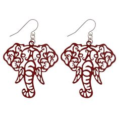 Crimson Elephant Head Filigree Fishhook Earrings Crimson Filigree Elephant Earrings Elephant Head is Width and Length Fish Hook Style Great for the Alabama fan or any fashion statment. Crimson Tide Football, Alabama Crimson Tide, Alabama Football, Alabama Elephant, College Rings, Elephant Earrings, Thing 1, Elephant Head, Fish Hook Earrings