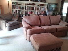 Slipcovers over leather by www.SHFbyJ.com