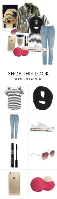 """Untitled #12"" by nknudson-04 on Polyvore featuring American Eagle Outfitters, H&M, Paula Bianco, River Island, Converse, OUTRAGE, Christian Dior, Aéropostale, Rifle Paper Co and Eos"