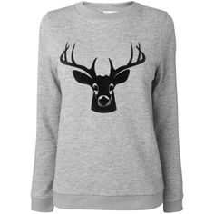 Boutique by Jaeger Deer print sweater ($61) ❤ liked on Polyvore featuring tops, sweaters, grey, knitwear, grey top, deer sweater, grey sweater, gray sweater and gray top