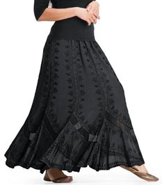 A truly superb Romanian Scalloped Hem design with a monster full flowing hem! Skirt is butter-soft (to die-for) washed viscose with embroidered Satin-Inlays at the hem. Embroidery is Gothic-inspired - and my favorite detail (along with the monster flowing hem) - the crochet-lace inlays that flow just above the hem - adding flare and sex-appeal to every stride!