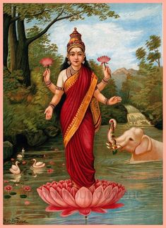 Many plants and trees have been elevated to the realm of the sacred, such as the lotus flower in Hinduism. The Hindu goddess Lakshmi holding & standing on a lotus, Raja Ravi Varma painting. Hindu Kunst, Hindu Art, Raja Ravi Varma, Ravivarma Paintings, Indian Paintings, Religion, Indian Traditional Paintings, Bd Art, Goddess Lakshmi