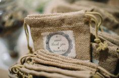 burlap wedding favors | photos by Mathias Fast | 100 Layer Cake