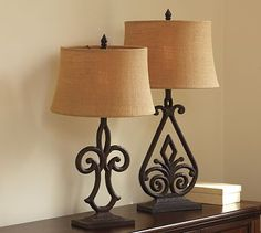 Open Scroll Rustic Wrought Iron Table Lamp Living Room