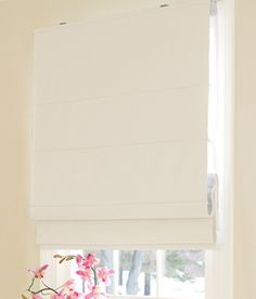 roman shade in white or ivory with cute DIY fabric valance