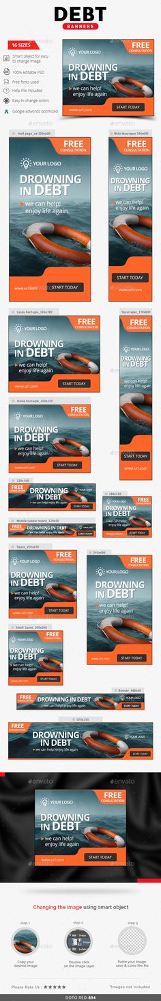 Debt Relief Web Banners Template PSD #design #ads Download: http://graphicriver.net/item/debt-relief-banners/13845321?ref=ksioks