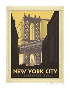 New York City: The Manhattan Bridge Posters by Anderson Design Group at AllPosters.com