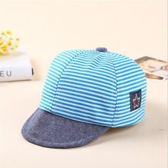 3fa45f8ede7f90 Summer Cotton Baby Hats Cute Casual Striped Soft Eaves Baseball Cap Baby Boy  Beret Baby Girls Sun Hat