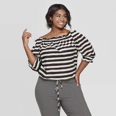 17a1bf063e6 Women s Plus Size Striped 3 4 Sleeve Off the Shoulder Bardot Top - Who What  Wear Black White 3X