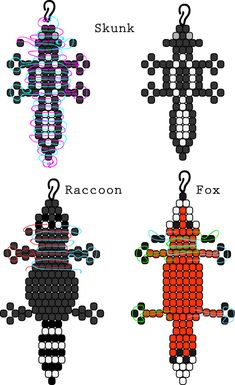 beaded animals Image only: Skunk, Raccoon and Fox bead buddies, based off of other pony bad animals Pony Bead Projects, Pony Bead Crafts, Beaded Crafts, Pony Bead Animals, Beaded Animals, Pony Bead Patterns, Beading Patterns, Color Patterns, Stitch Patterns