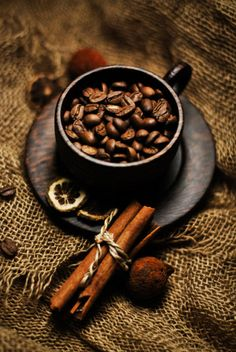 Coffee beans and cinnamon...