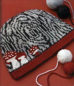 Applique mushrooms for knit hat embellish
