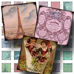 Pieces Of Paris (4) Aged and Stained Digital Collage Sheet - 1 Inch Square - Buy 3 sheets and get 4th FREE - Printable Download