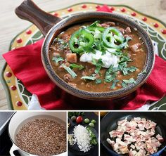 Frijoles Charros  --used 2 cans pinto beans instead of dried  --did not use chorizo or ham  --substituted canned fire roasted tomatoes for Roma  --did not use jalapeno