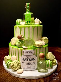 This one is a Silver Patron Drip Cake with Salted Patron Margarita Macarons, Slutty Rum Brow. Alcohol Birthday Cake, 21st Birthday Cake For Guys, Alcohol Cake, 21st Cake, Adult Birthday Cakes, 21 Birthday Cupcakes, Birthday Bbq, 22nd Birthday, Birthday Ideas