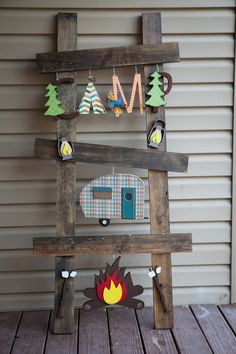 Custom/Gift/Camping ladder kit/Ladder kit/Summer/interchangeable/holiday decor/personalized/camp trailer/campfire/trees/tent/wood decor - Easy Crafts for All Summer Crafts, Fall Crafts, Christmas Crafts, Christmas Wood, Christmas Signs, Crafts To Sell, Diy Crafts, Camping Signs, Camping Crafts