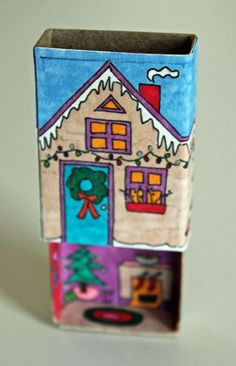 Get out your fine-point Sharpies! I made a new Winter Matchbox House for the holidays for those of you with both time and matches on your hands. I couldn't manage to take a decent photo of th…
