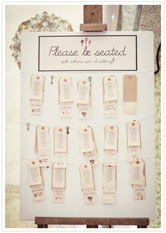 paper tags and key escort cards  seating plan