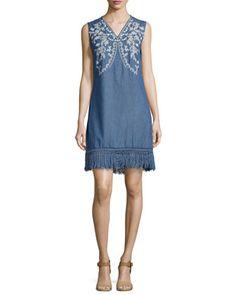 Gulper Embroidered Denim Dress by Elle Sasson at Bergdorf Goodman.