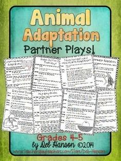 Partner Plays: Animal Adaptations -set of 8 scripts for 4th and 5th grade students!  Improve fluency while reading about animal adaptations! $