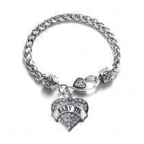 Baby Sis Pave Heart Charm Bracelet